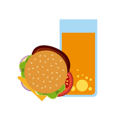 hamburger and juice vector image