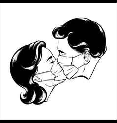 Hand drawn kissing couple vector