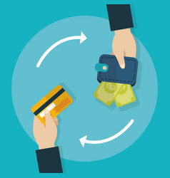 hands with wallet and bank card transaction vector image
