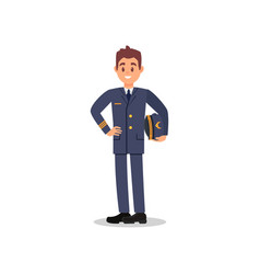 handsome captain of airplane holding hat in hand vector image