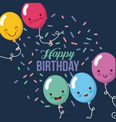 Happy birthday kawaii ballons vector