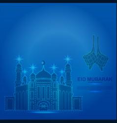 Happy eid mubarak consists blue dots vector