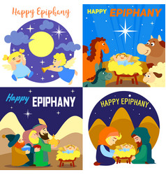 happy epiphany banner set cartoon style vector image