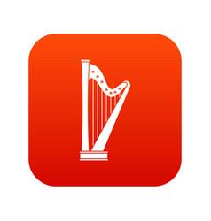 harp icon digital red vector image