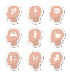 Head man thoughts icons set vector image