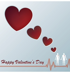 Heart Valentine Greeting Card Design With Origami vector image