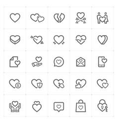 icon set - heart outline stroke vector image