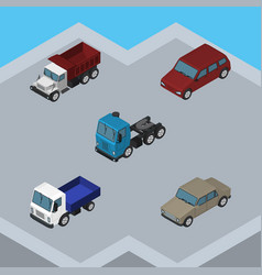 isometric automobile set of car lorry auto and vector image