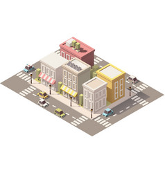 isometric low poly town street with vector image vector image