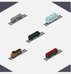 isometric railway set of train railroad carriage vector image vector image