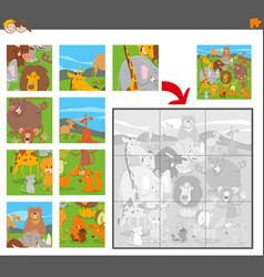 jigsaw puzzle game with cartoon animals vector image