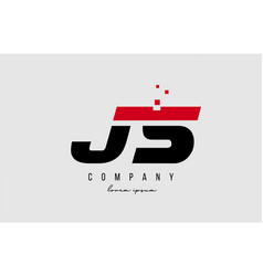 Js j s alphabet letter logo combination in red vector
