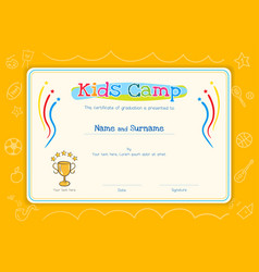 Kids diploma or certificate template for kids vector