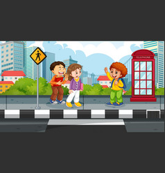 kids in street scene vector image