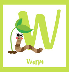 Letter w vocabulary happy worm vector
