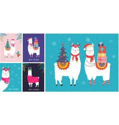llama winter cute design for nursery vector image