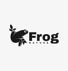 logo frog silhouette style vector image