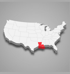 louisiana state location within united states 3d vector image