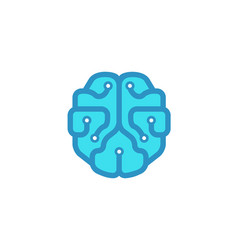 mind technology blue brain logo vector image