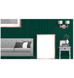 Mock up poster frame in living room vector