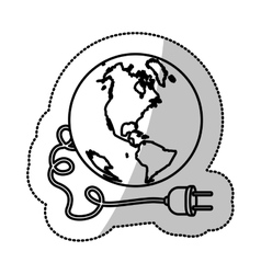 Monochrome silhouette sticker with world and power vector