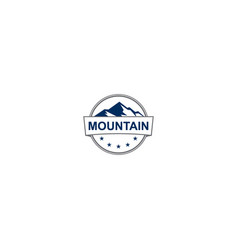 mountain round emblem adventure logo vector image