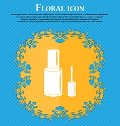 Nail polish bottle icon floral flat design on a vector