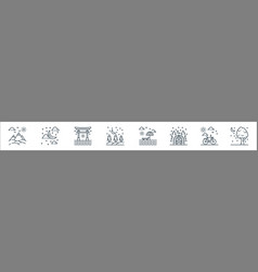 Nature and landscape line icons linear set vector