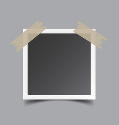 photo frame with adhesive tape isolated on grey vector image