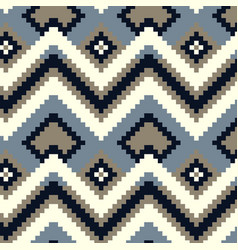 Pixel zig-zag seamless pattern vector