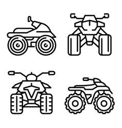 Quad bike icons set outline style vector