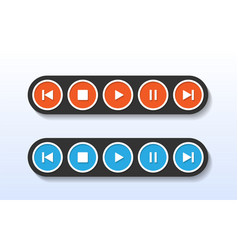 red and blue media player control button vector image