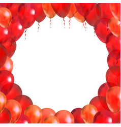 red balloons in round frame shape on white vector image