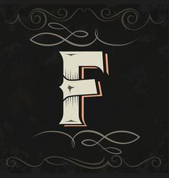 retro style western letter design letter f vector image