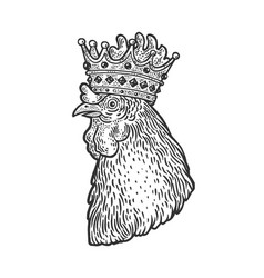 rooster in crown sketch vector image