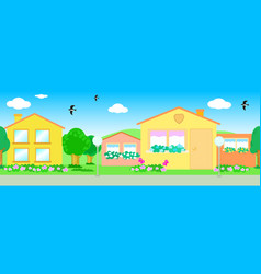 Seamless line of houses vector