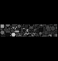 set 100 geometric shapes memphis design retro vector image
