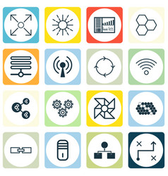 Set of 16 machine learning icons includes hive vector