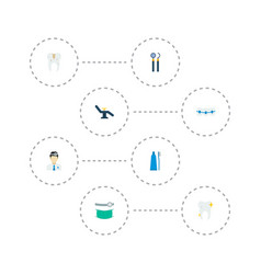 Set of tooth icons flat style symbols with vector