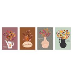 set postcards with autumn bouquets vector image