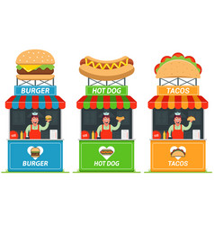 set stalls with fast food cheerful seller vector image
