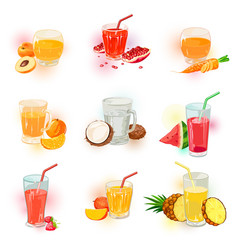 Set with berry vegetable and fruit juice vector