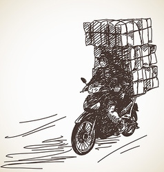 Sketch of motorcycle delivery vector image