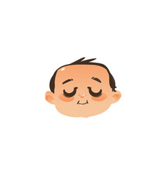 Sleeping baby face head icon with closed eyes vector