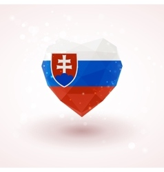 Slovak flag in shape diamond glass heart vector image