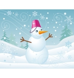 Snowman in Pink Bucket on Christmas Landscape vector image