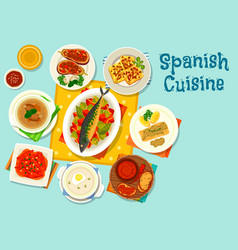 spanish cuisine healthy lunch icon design vector image