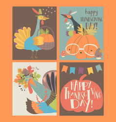 Sset thanksgiving card with turkey and pumpkin vector