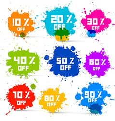 Transparent Colorful Discount Sale Splashes Set vector image