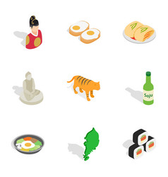 Travel to south korea icons isometric 3d style vector
